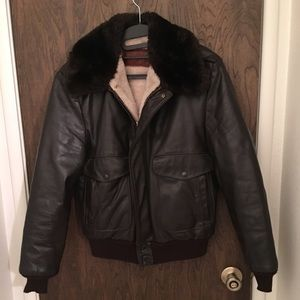 Other - Brown leather bomber jacket Men's size 40